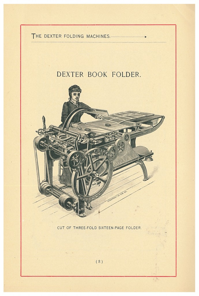 an operator using a Dexter Book Folder shown in 1891-92 Dexter Book Folding Machines trade catalog