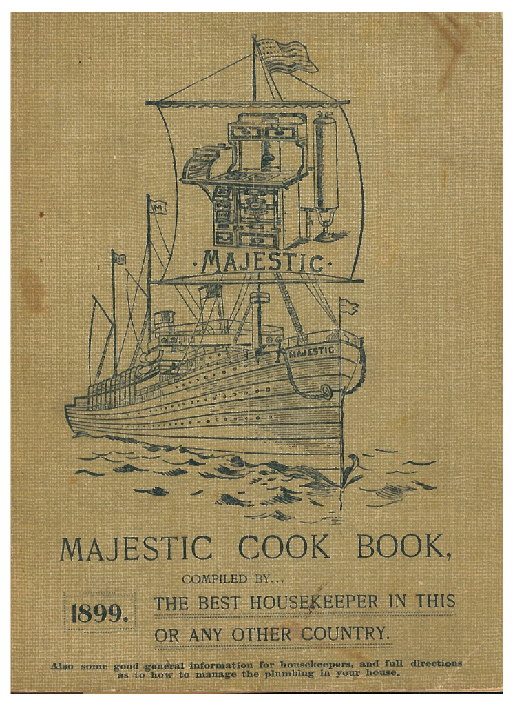 ship sailing on water shown on front cover of Majestic Cook Book