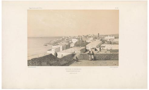 "Panoramic view of Mogadiscio, from our house's roof terrace.                 (Panorama de Moguedchou, vue prise de la terrasse de notre maison.) E. Cicéri, lithograph after Bayot ; Arthus Bertrand, editor. In : ""Voyage à la côte orientale d'Afrique"" / surveyed and written by Ch. Guillain, folio-atlas, plate               23; 1856-1857. Engraving."