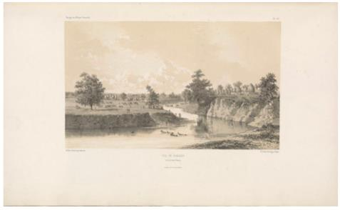 "View of Gueledi, on the Denoq River. (Vue de Guéledi, sur la rivière Denoq.) E. Cicéri, lithograph after Bayot ; L. Caraguel and H. Bridet, drawings ; Arthus Bertrand, editor. In : ""Voyage à la côte orientale d'Afrique"" / surveyed and written by Ch. Guillain, folio-atlas, plate 26; 1856-1857. Engraving."