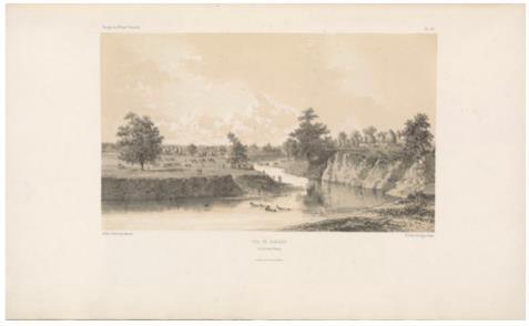 """View of Gueledi, on the Denoq River. (Vue de Guéledi, sur la rivière Denoq.) E. Cicéri, lithograph after Bayot ; L. Caraguel and H. Bridet, drawings ; Arthus Bertrand, editor. In : """"Voyage à la côte orientale d'Afrique"""" / surveyed and written by Ch. Guillain, folio-atlas, plate 26; 1856-1857. Engraving."""