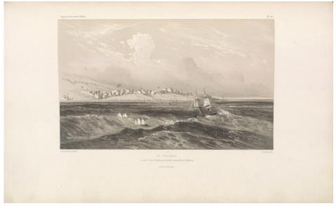"The Ducouëdic, anchored off Merka, to board the crew of the expedition. (Le Ducouëdic, en panne devant Meurka, pour prendre le personel de l'expédition.) Sabatier, lithograph ; L. Caraguel and H. Bridet, drawings ; Arthus Bertrand, editor. In : ""Voyage à la côte orientale d'Afrique"" / surveyed and written by Ch. Guillain, folio-atlas, plate 40; 1856-1857. Engraving."
