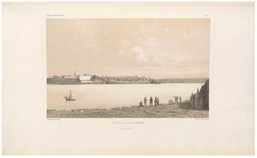 "View of the town of Mombasa.                 (Vue de la ville de Mombase.) E. Cicéri, lithograph after Bayot ; L. Caraguel and H. Bridet, drawings ; Arthus Bertrand, editor. In : ""Voyage à la côte orientale d'Afrique"" / surveyed and written by Ch. Guillain, folio-atlas, plate               44; 1856-1857. Engraving."