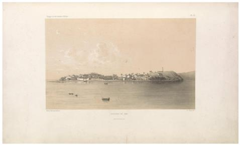 "Dzaoudzi in 1848.                 (Dzaoudzi ([Mayotte]) en 1848.) E. Cicéri, lithograph ; L. Caraguel and H. Bridet, drawings ; Arthus Bertrand, editor. In : ""Voyage à la côte orientale d'Afrique"" / surveyed and written by Ch. Guillain, folio-atlas, plate               53; 1856-1857. Engraving."