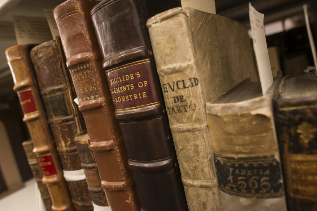 Rare books in the Dibner Library.