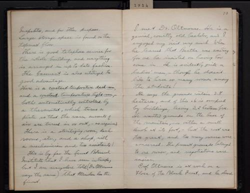 "Page 74 of Bohumil Shimek's ""Diary, European trip, 1914 (2 of 2)"". Smithsonian Institution Archives.  SIA RU007082, Box 3 Folder 4."