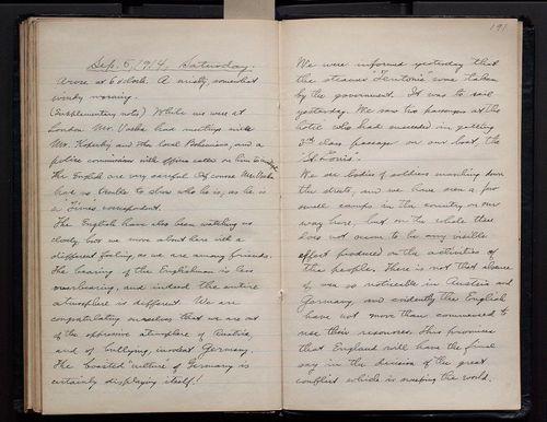 "Page 190 of Bohumil Shimek's ""Diary, European trip, 1914 (2 of 2)"". Smithsonian Institution Archives.  SIA RU007082, Box 3 Folder 4."