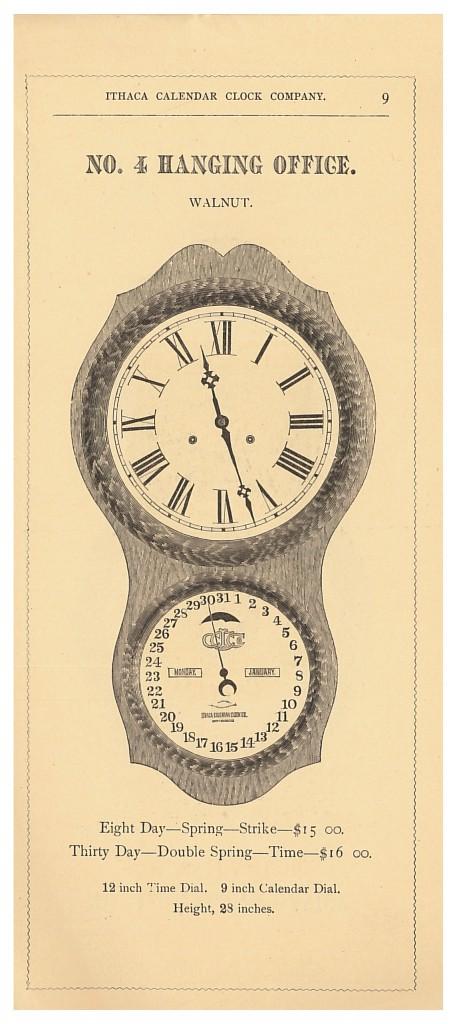 Ithaca Calendar Clock No. 4 Hanging Office Clock
