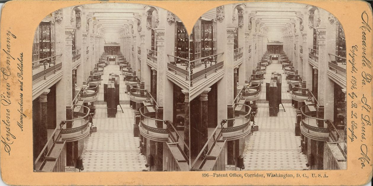 1894 stereograph of U.S. Patent Office Building west model hall