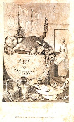 Added illustrated title page of Smithson's copy of Mrs. Rundell's cookery book.