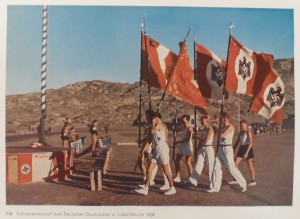 Flag procession for the German regional gymnastics festival in Luderitzbucht [Namibia] 1939.