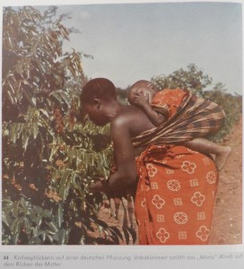 "Coffee picker on a German plantation. The ""mtoto"" (child) sleeps unconcerned on the back of his mother. [Tanzania]"