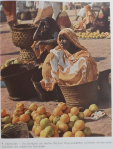 The Fruit Market—The golden yellow of fresh oranges looks wonderful along with the rich tones of the colorful garments. [Tanzania]