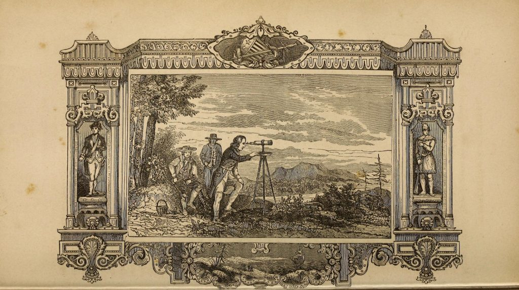 Plate depicting Washington's early career as a surveyor. Pictorial life of George Washington