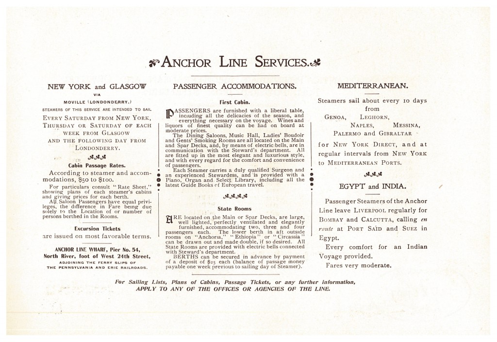 information and descriptions of Anchor Line services