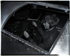Amelia Earhart in the Lockheed 10-E Electra (NASM Archives)