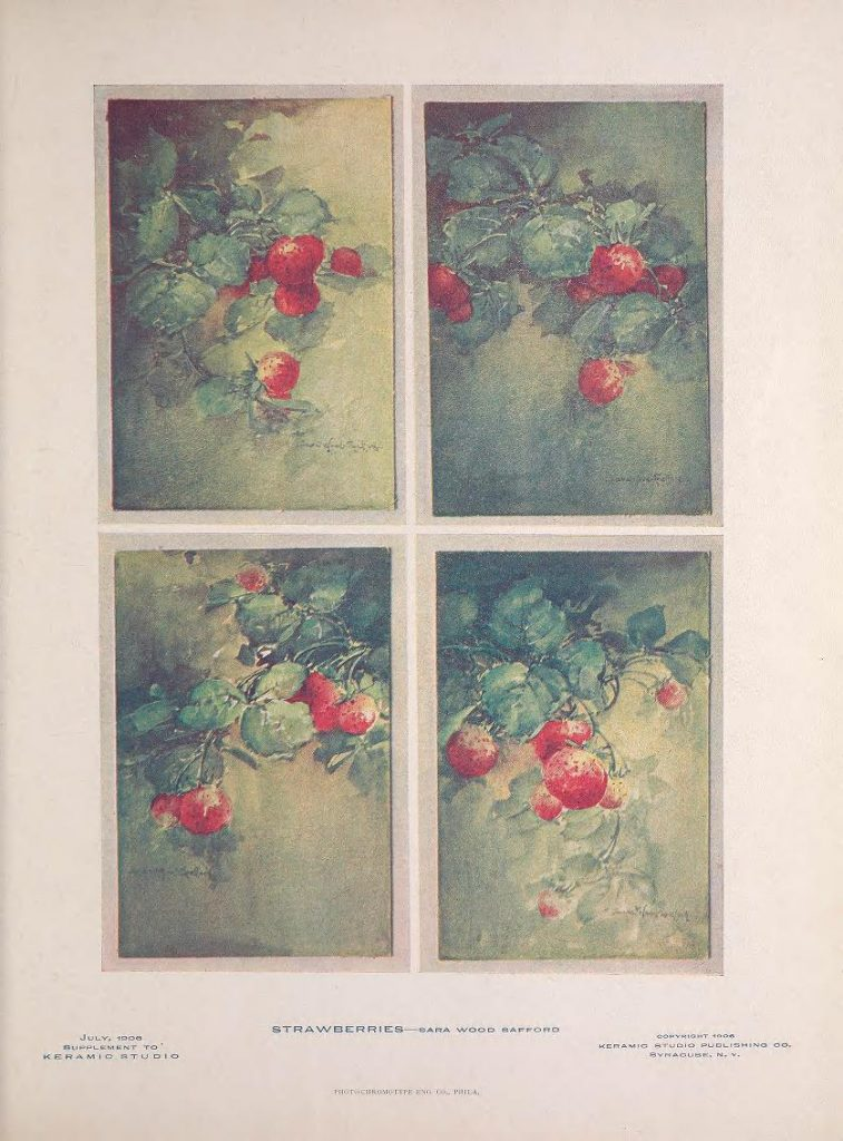 Strawberries by Sara Wood Safford, the July 1906 supplement to Keramic Studio
