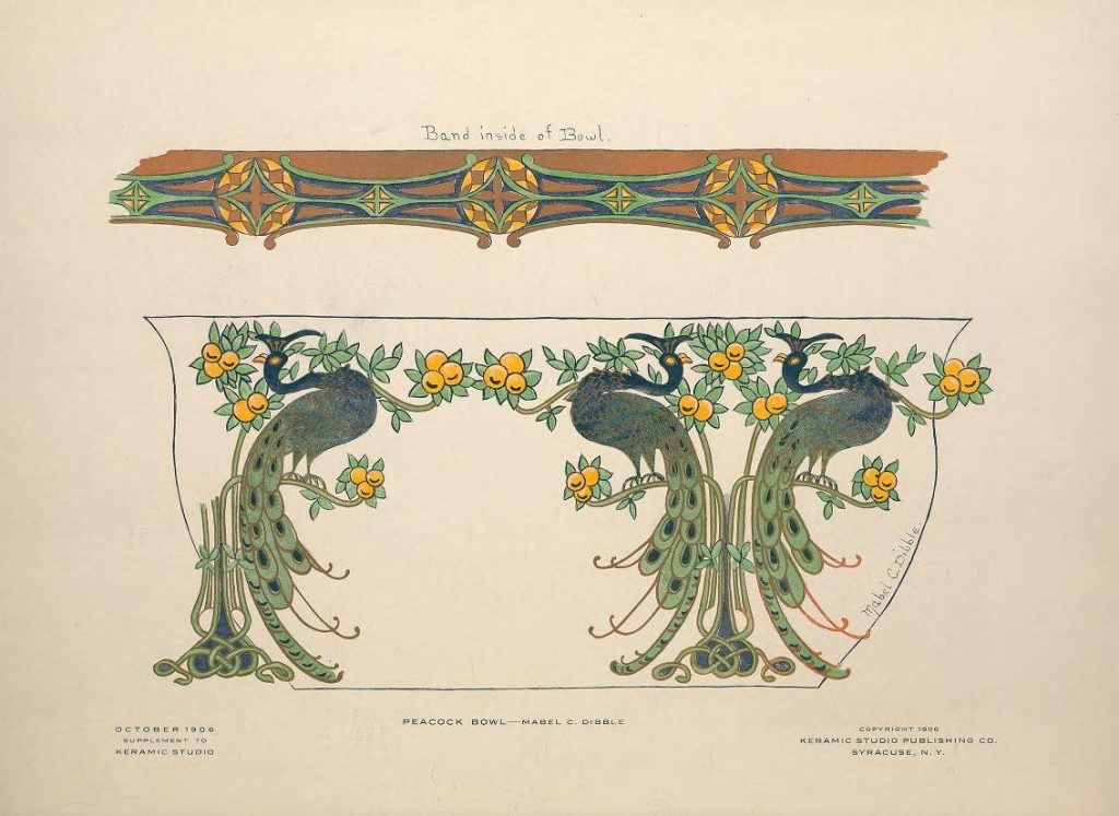 Peacock Bowl design by Mabel C. Dibble, the October 1906 supplement to Keramic Studio