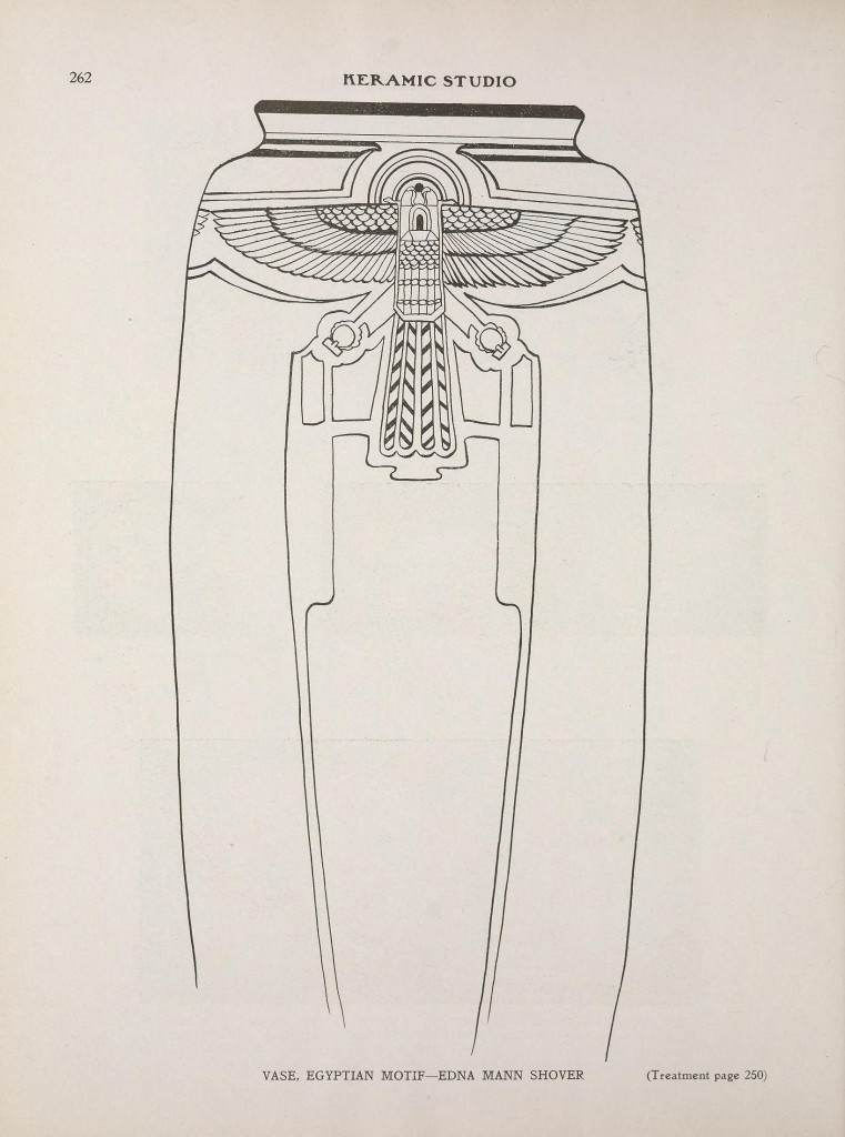 Egyptian Motif Vase by Edna Mann Shover, p. 262 of v.14 n.12 Keramic Studio, April 1913