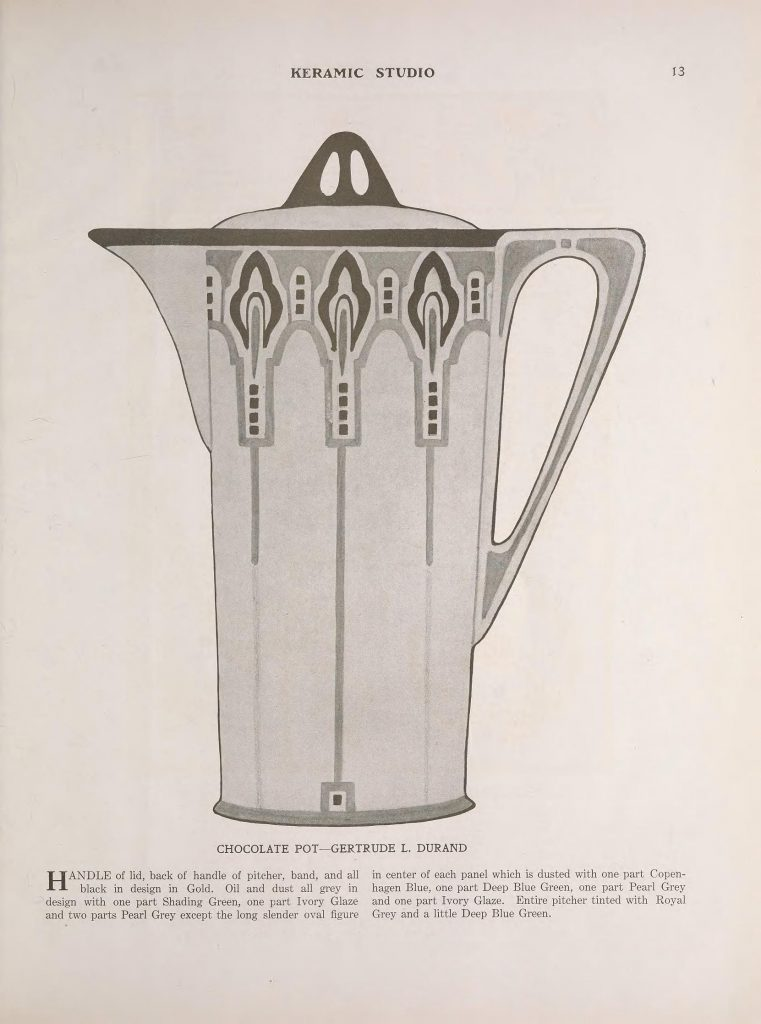 Chocolate Pot by Gertrude L. Durand, p.13 of the May 1915 issue of Keramic Studio