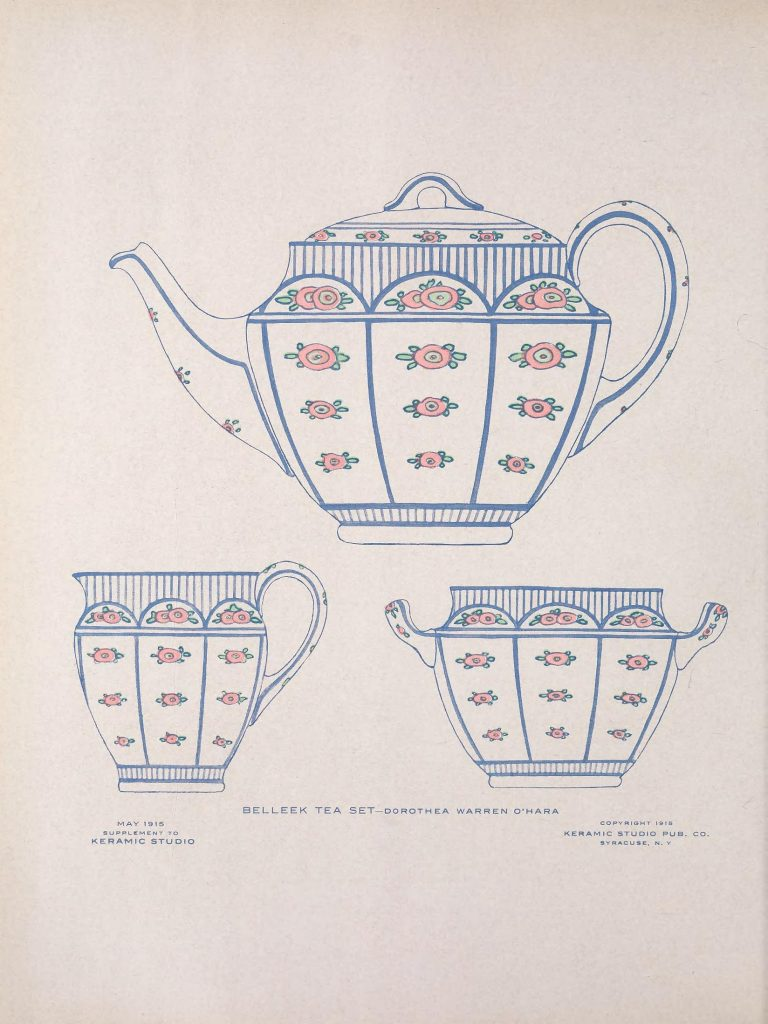 May 1915 supplement to Keramic Studio, Belleek Tea Set by Dorothea Warren O'Hara