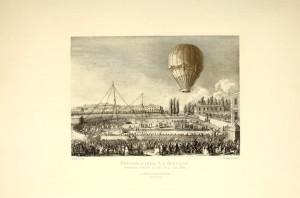 Elisabeth Thible's first flight, from Gaston Tissander's Histoire des ballons et des aeronautes celebres: 1783-1800 (NASM Library)