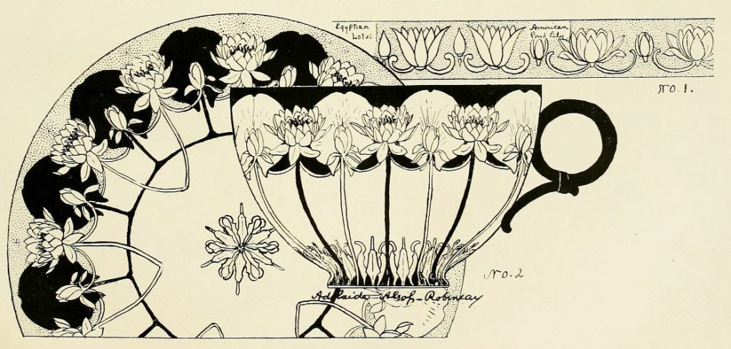 Pond Lily design by Adelaide Alsop Robineau, p.119 in v.2 no. 6 of Keramic Studio, October 1900