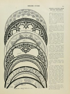 A feature of the Arts & Crafts Movement was the revival of historic and non-western design sources. p. 249 of the April 1901 v.2 no. 12 issue of Keramic Studio