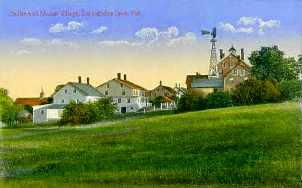 Postcard of the Shaker Village of Sabbathday Lake, Maine (ca. 1920; Wikimedia Commons)