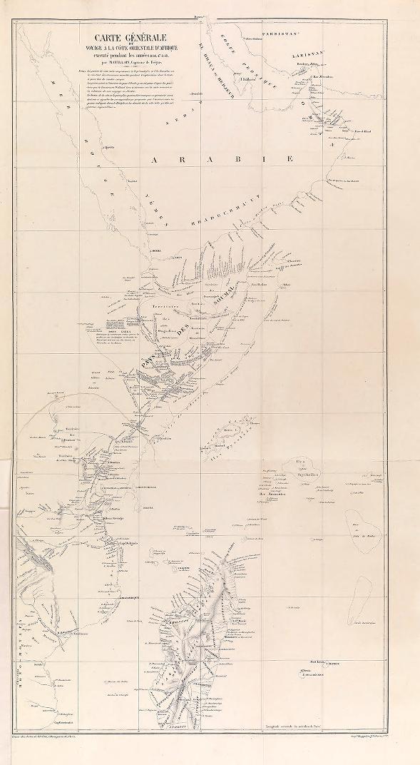 """General map of the Indian Ocean. (Carte générale de l'Océan Indien.) Bineteau, printing, Paris. In : """"Voyage à la côte orientale d'Afrique"""" / surveyed and written by Ch. Guillain, folio-atlas, plate 1;  1856-1857. Map, engraving."""