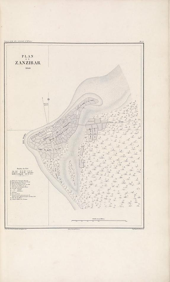 "Map of Zanzibar, 1846. (Plan de Zanzibar, 1846.) Erhard Schieblé; Kœppelin, printing ; Arthus Bertrand, editor. In : ""Voyage à la côte orientale d'Afrique"" / surveyed and written by Ch. Guillain, folio-atlas, plate 9;  1856-1857. Map, engraving."