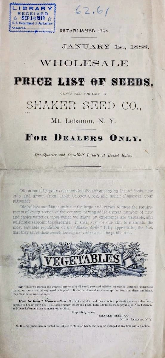 Wholesale price list of seeds by the Shaker Seed Company. New Lebanon, New York, 1888 (Henry G. Gilbert Nursery and Seed Trade Catalog Collection, National Agriculture Library; image from the Biodiversity Heritage Library)