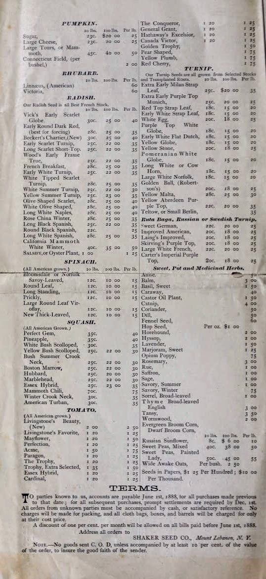 Wholesale price list of seeds by the Shaker Seed Company, Mount Lebanon, New York, 1888 (Henry G. Gilbert Nursery and Seed Trade Catalog Collection, National Agriculture Library)