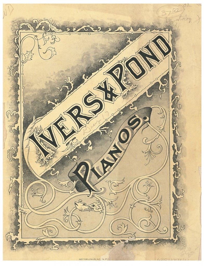 front cover of circa 1890 Ivers & Pond Piano Co. trade catalog