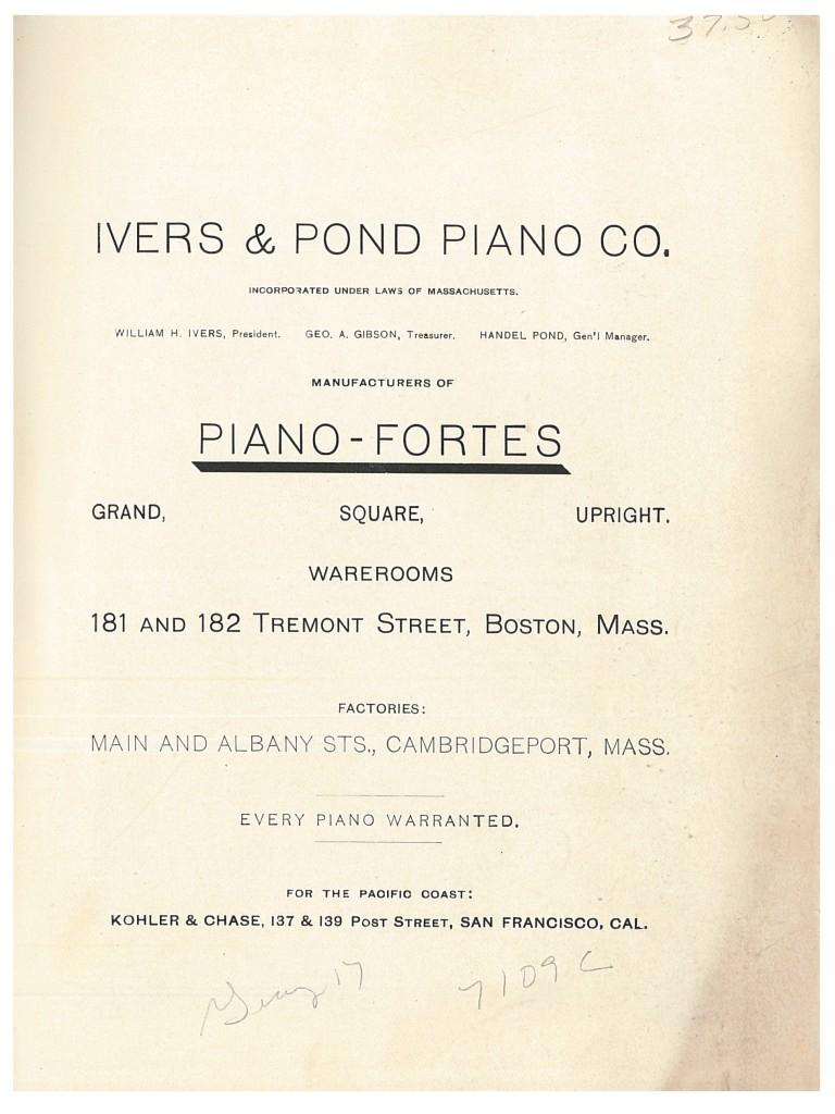 title page of circa 1890 Ivers & Pond Piano Co. trade catalog