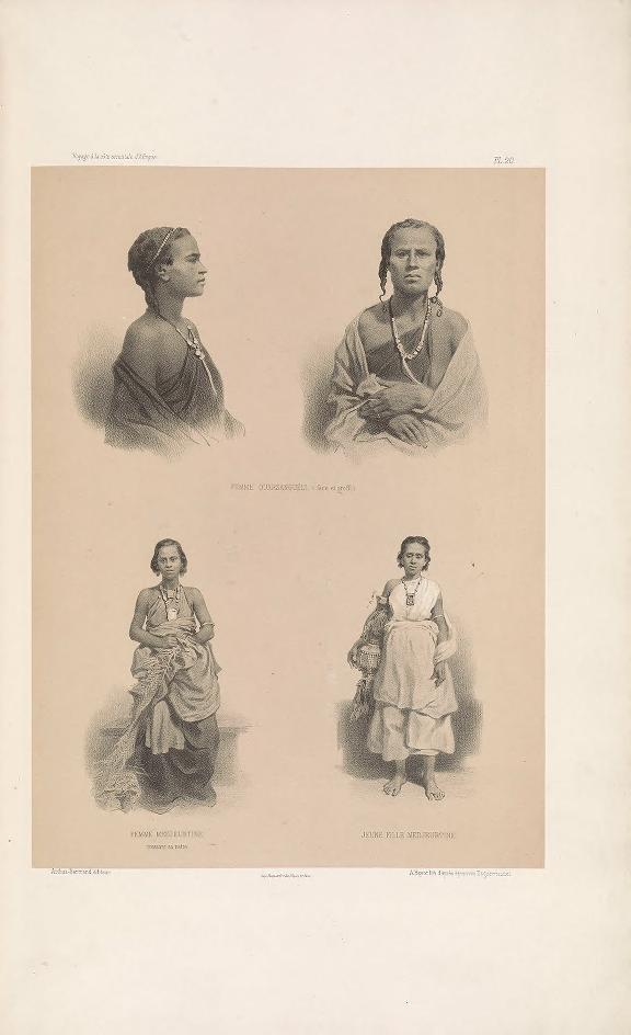"Ouarsangueli woman (front and profile view); Majeerteen woman weaving a mat; Majeerteen young woman. (Femme Ouarsanguéli (face et profil); femme Medjeurtine, tressant sa natte; jeune fille Medjeurtine.     Bayot, lithograph after daguerreotypes ; Guillain, Charles (1808-1875), photographer ; Arthus Bertrand, editor. In: ""Voyage à la côte orientale d'Afrique"" / surveyed and written by Ch. Guillain, folio-atlas, plate 23; 1856-1857."