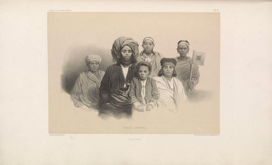 "Swahili Family. (Famille Souahheli.)     Bayot, lithograph after daguerreotypes ; Guillain, Charles (1808-1875), photographer ; Arthus Bertrand, editor. In: ""Voyage à la côte orientale d'Afrique"" / surveyed and written by Ch. Guillain, folio-atlas, plate 31; 1856-1857."