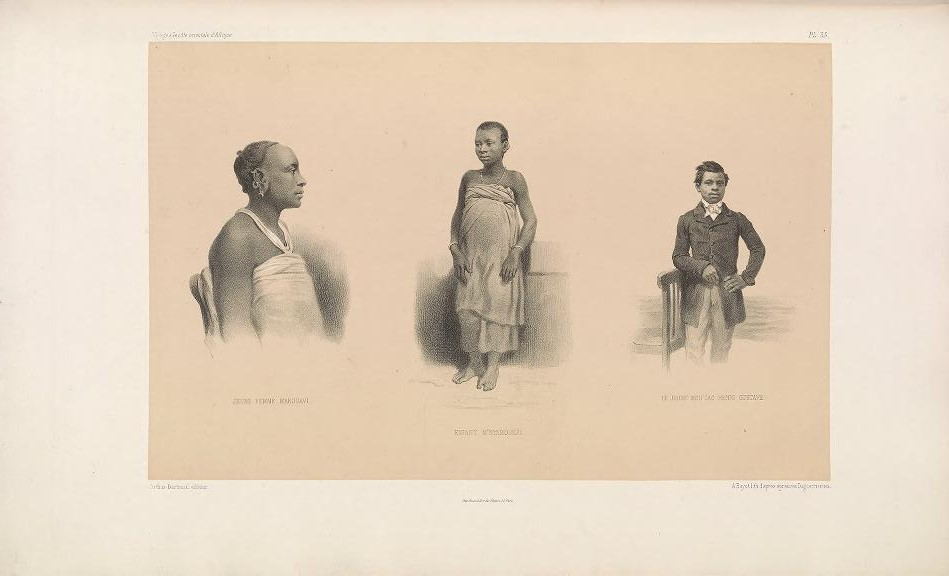 "Young Wakwavi woman; Nyamwezi child; the young Yao Henri Gustave. (Jeune femme Makouavi; enfant M'nyamouezi; le jeune Mou'iao Henri Gustave.)     Bayot, lithograph after daguerreotypes ; Guillain, Charles (1808-1875), photographer ; Arthus Bertrand, editor. In: ""Voyage à la côte orientale d'Afrique"" / surveyed and written by Ch. Guillain, folio-atlas, plate 35; 1856-1857."