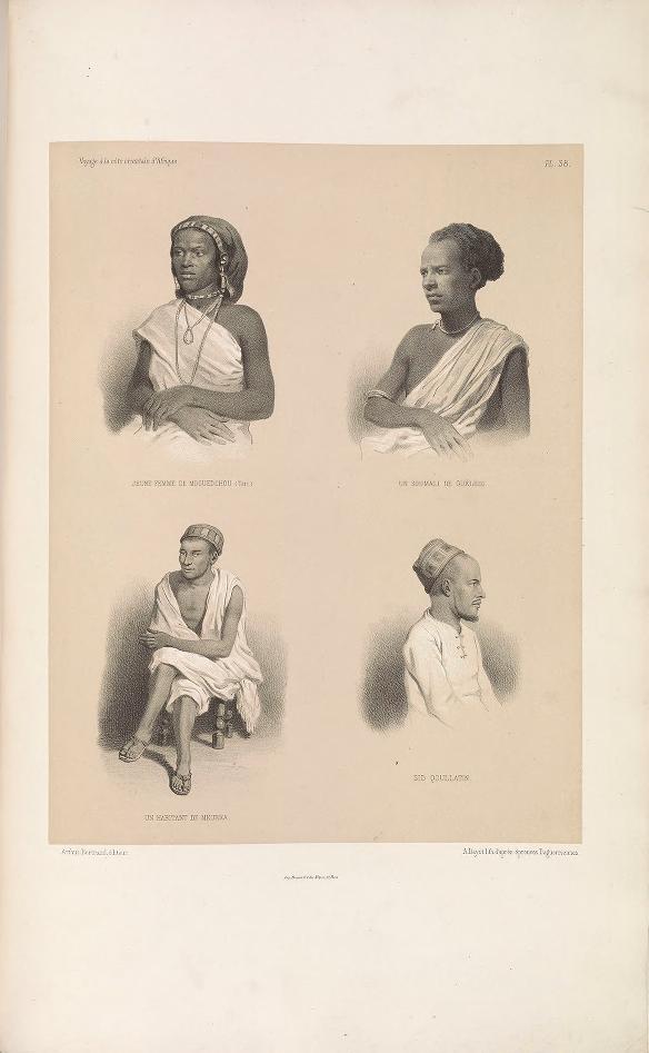 "Young woman from Mogadishu (Teri); Soumal from Geledi; Merka inhabitant; Sid Qoullatin. (Jeune femme de Mogedchou (Teri); un Soumali de Gueledi; un habitant de Meurka; Sid Qoullatin.)     Bayot, lithograph after daguerreotypes ; Guillain, Charles (1808-1875), photographer ; Arthus Bertrand, editor. In: ""Voyage à la côte orientale d'Afrique"" / surveyed and written by Ch. Guillain, folio-atlas, plate 38; 1856-1857."