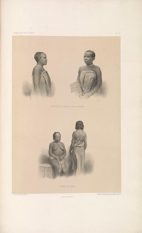 """Young Chaga woman (front and profile view); Kamba women. (Jeune fille de Tchaga (vue de face et de profil); femmes de Kamba.)     Bayot, lithograph after daguerreotypes ; Guillain, Charles (1808-1875), photographer ; Arthus Bertrand, editor. In: """"Voyage à la côte orientale d'Afrique"""" / surveyed and written by Ch. Guillain, folio-atlas, plate 45; 1856-1857."""