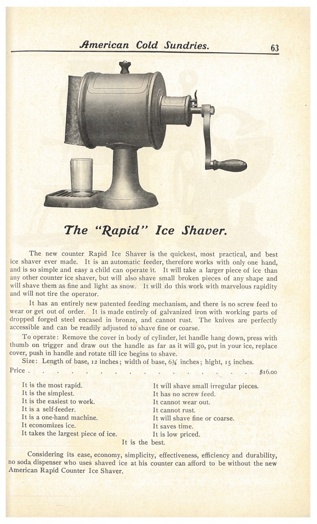 """Rapid"" Ice Shaver for soda fountain"