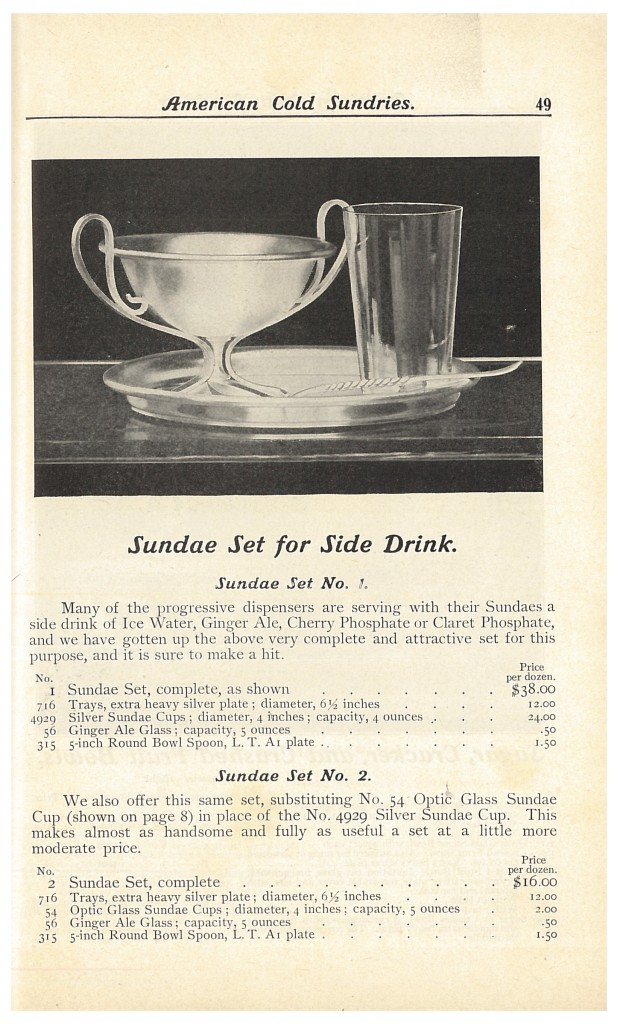 Sundae Set for Side Drink including tray, silver sundae cup, Ginger Ale glass, and round bowl spoon