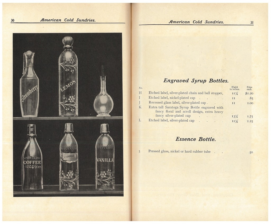 engraved syrup bottles and essence bottle for soda fountain