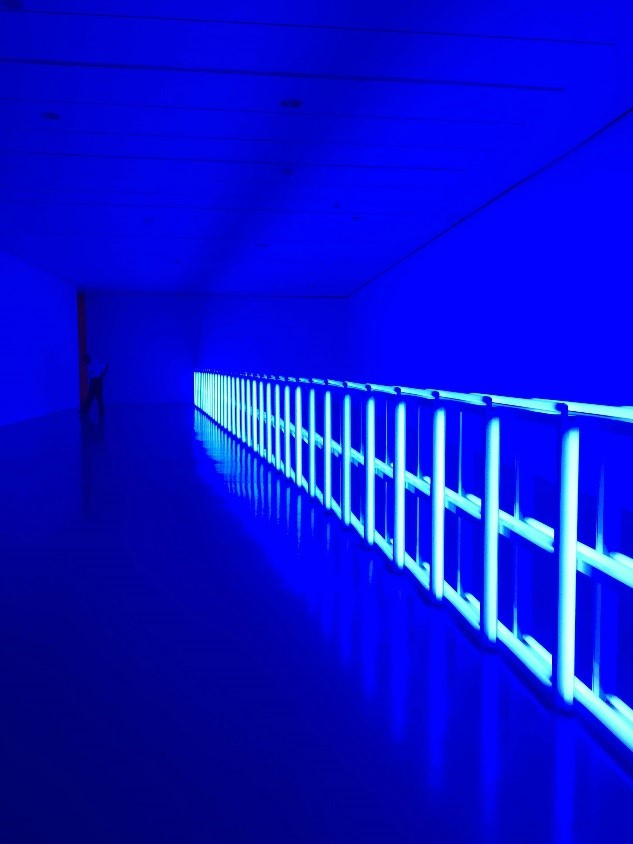 "Dan Flavin's ""untitled (to Helga and Carlo, with respect and affection),"" presently on display at the Hirshhorn."