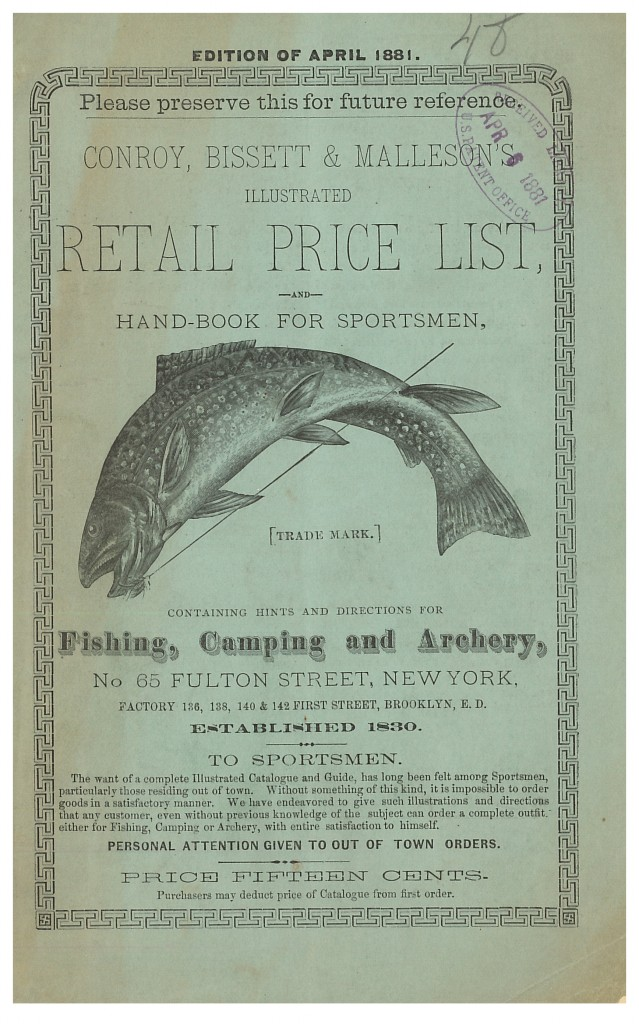 front cover of Conroy, Bissett & Malleson trade catalog showing a fish