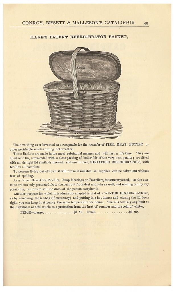 Hare's Patent Refrigerator Basket