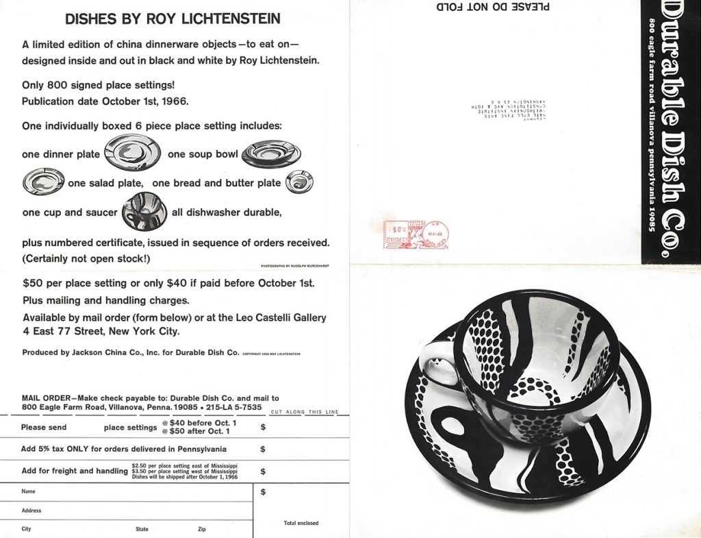 Order Form for Lichtenstein China Dinnerware, 1966-- AAPG