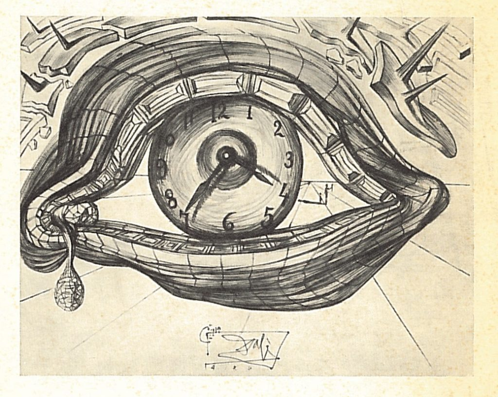 Sketch of Eye of Time in exhibition catalogue A collection of objets d'art and jewels designed by Salvador Dali and presented by the Catherwood Foundation of Bryn Mawr, Pa.—AAPG