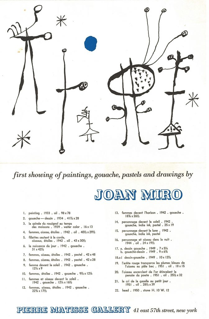 Invitation to Miro's first show at the Pierre Matisse Gallery, 1932-- AAPG