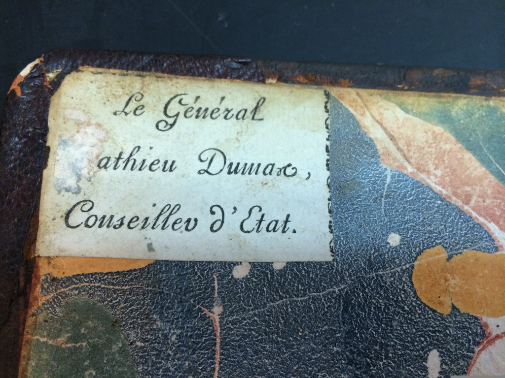 Book plate in Cooper Hewitt copy. Photo by Katie Wagner, book conservator.